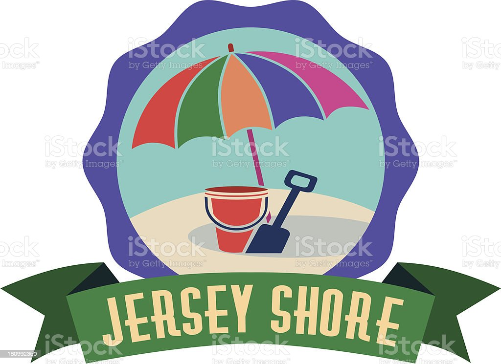 Jersey Shore luggage label or travel sticker royalty-free stock vector art