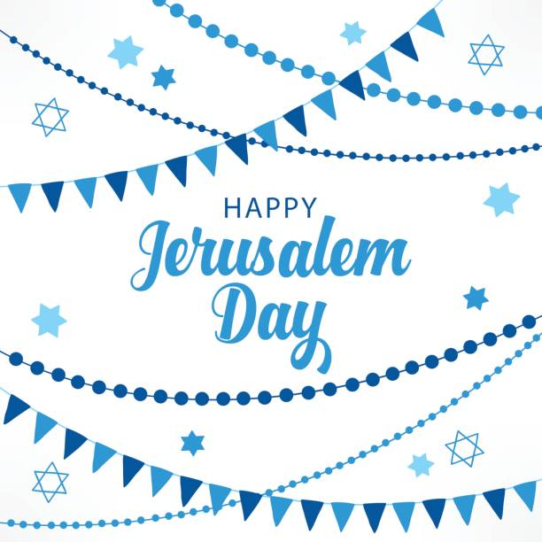jerusalem day greeting card with garlands and jewish stars - israel independence day stock illustrations, clip art, cartoons, & icons