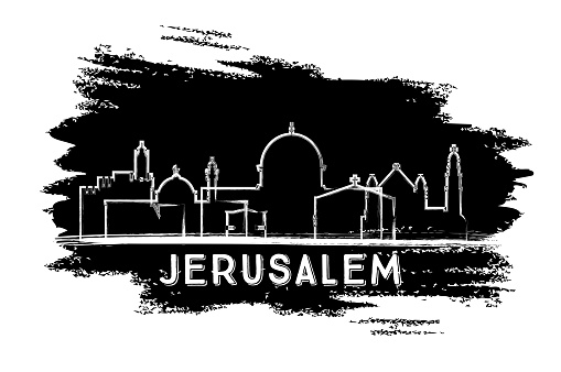 Jerusalem Israel City Skyline Silhouette. Hand Drawn Sketch.