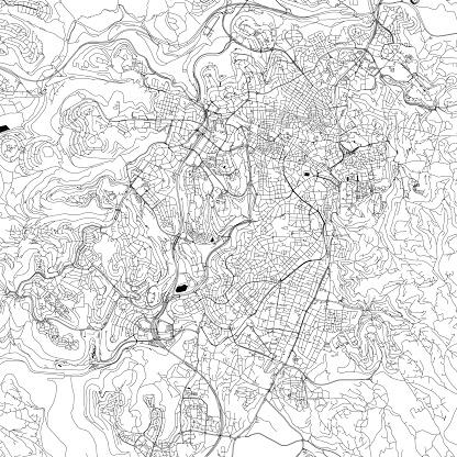 Jerusalem, Israel Vector Map