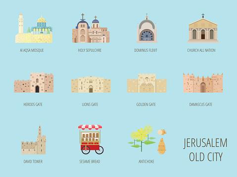 Jerusalem old city attraction.Al Aqsa Mosque, Lions gate, Sesame