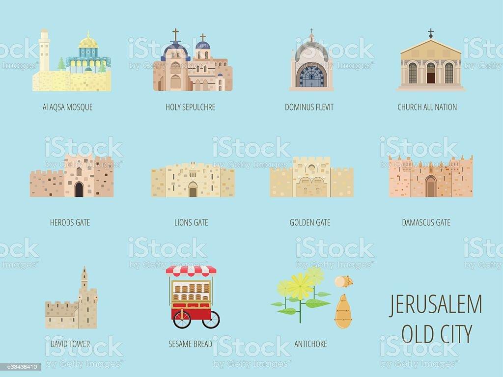 Jerusalem old city attraction.Al Aqsa Mosque, Lions gate, Sesame vector art illustration