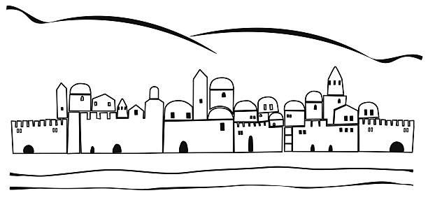 Line Drawing Jerusalem : Royalty free jerusalem night clip art vector images
