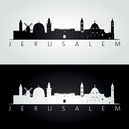 Jerusalem skyline and landmarks silhouette, black and white design, vector illustration.