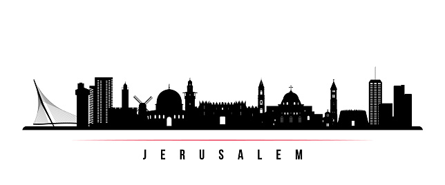 Jerusalem skyline horizontal banner. Black and white silhouette of Jerusalem, Israel. Vector template for your design.