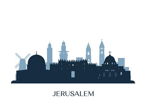 Jerusalem skyline, monochrome silhouette. Vector illustration.