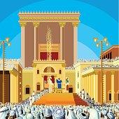 Jerusalem Temple. A scene of  Jewish King long ago in