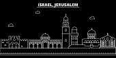 Jerusalim silhouette skyline. Israel - Jerusalim vector city, israeli linear architecture, buildings. Jerusalim travel illustration, outline landmarks. Israel flat icon, israeli line banner