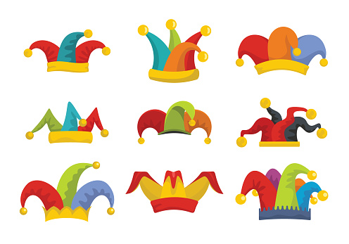 Jester fools hat icons set flat style