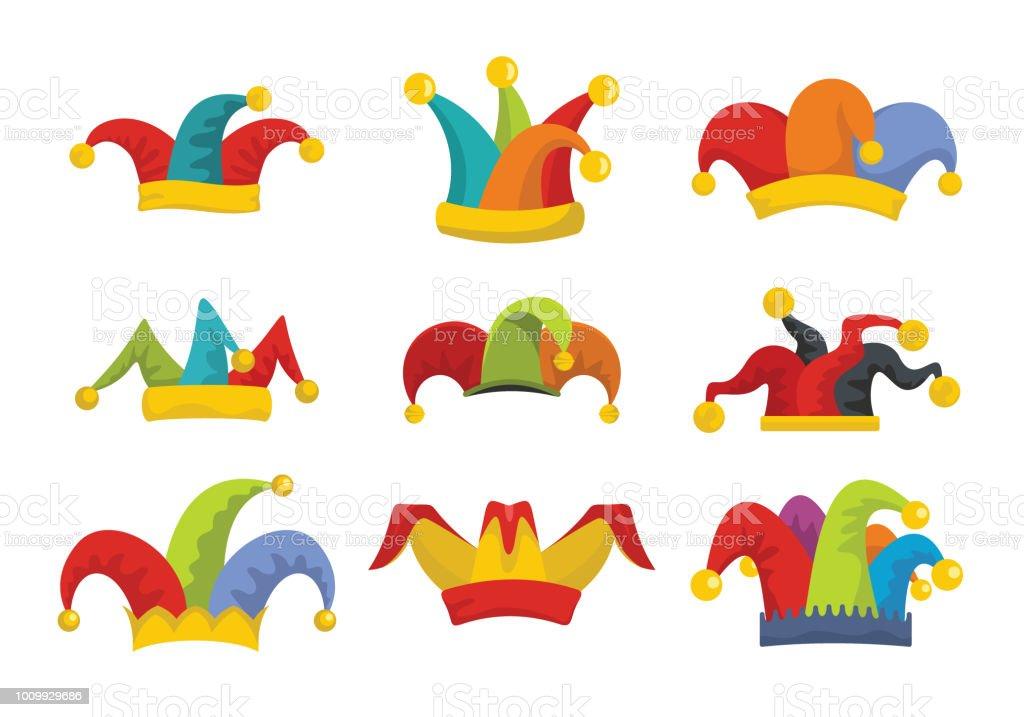 Bouffon des imbéciles chapeau icônes style plat affecté - Illustration vectorielle