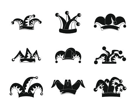 Jester fools hat icons set, simple style