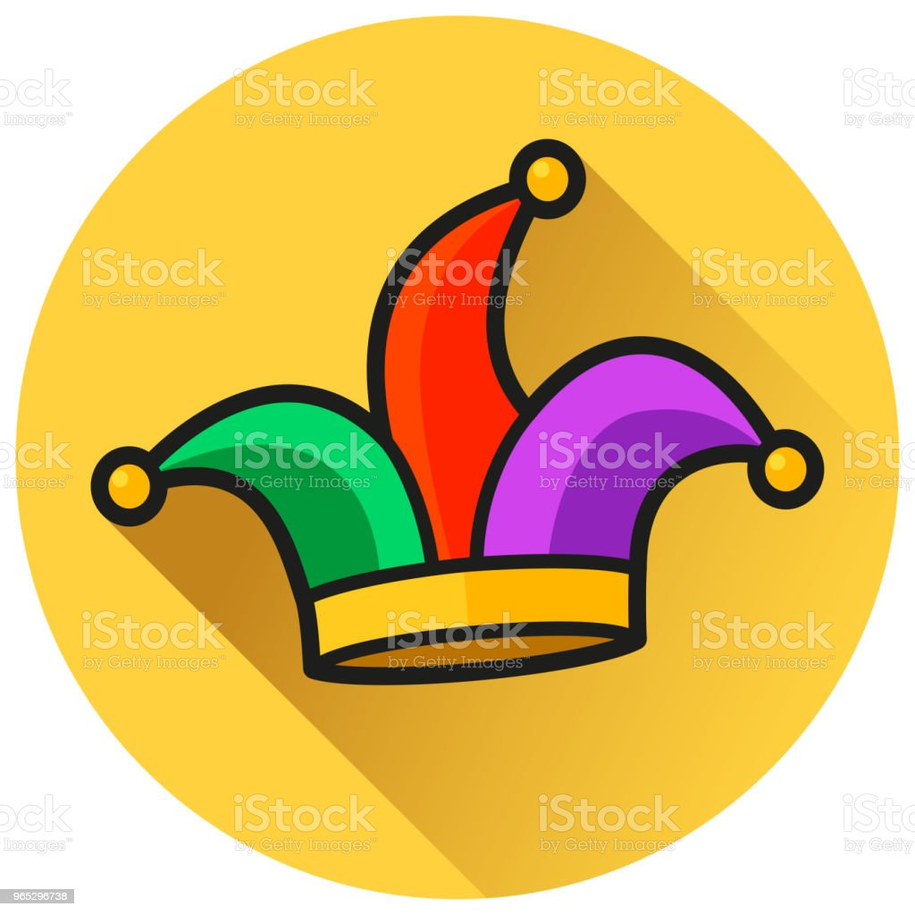 jester hat circle flat icon royalty-free jester hat circle flat icon stock illustration - download image now