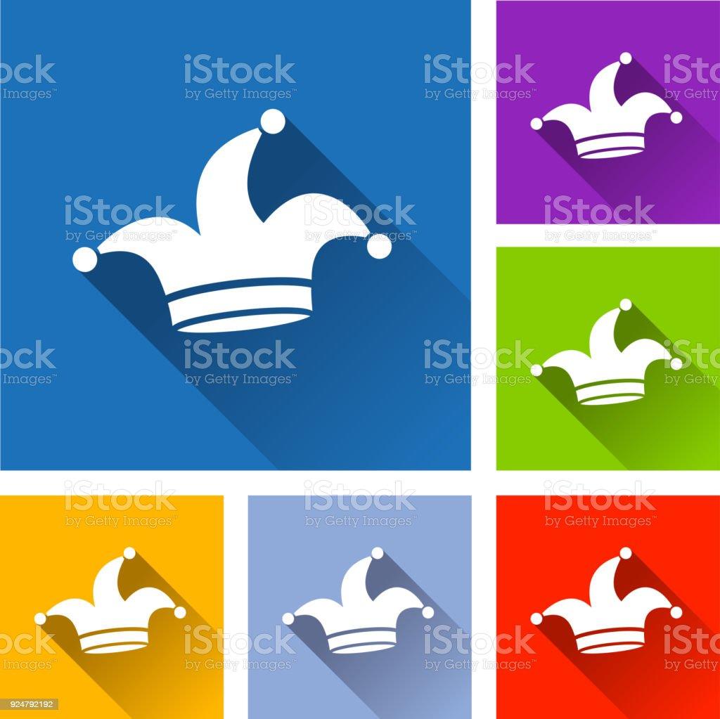 icônes de chapeau de bouffon avec shadow - Illustration vectorielle