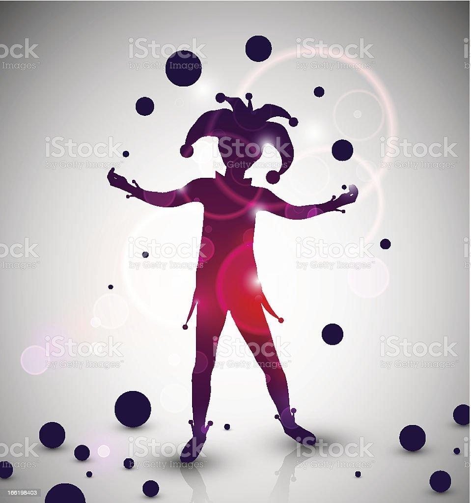 Jester juggler vector art illustration