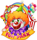 Jester with fun park sign