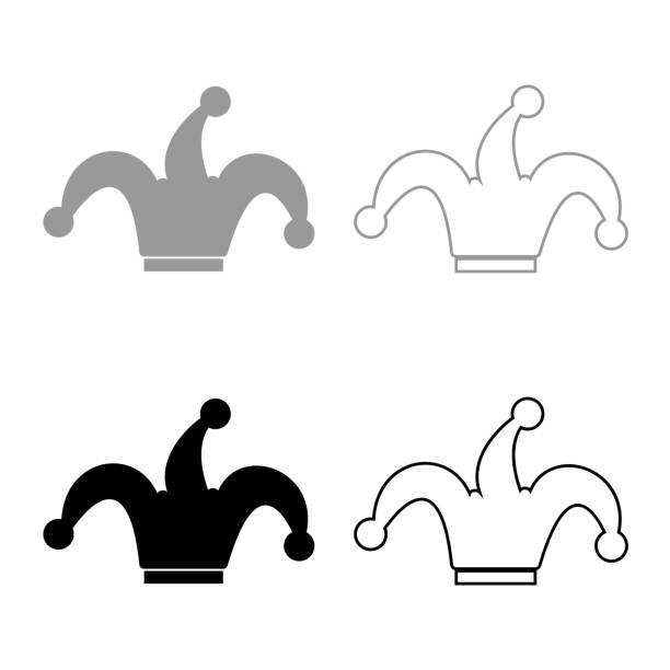 narren symbolsatz gap schwarz grau - hoftheater stock-grafiken, -clipart, -cartoons und -symbole