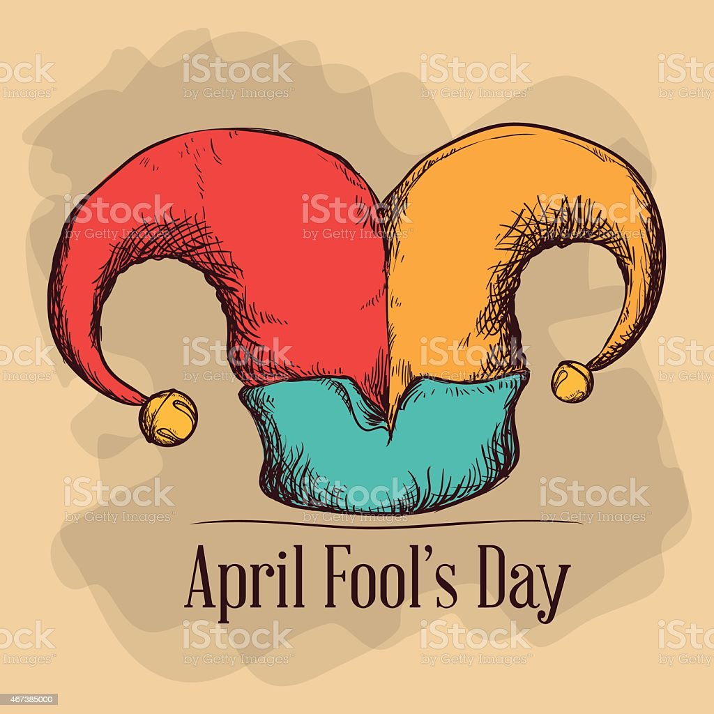 Jesters hat on an April fools day card design template vector art illustration