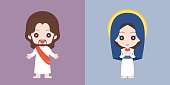 Jesus and Mary cute character, flat design vector illustration