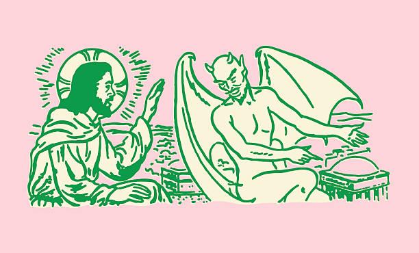 Jesus and the Devil vector art illustration