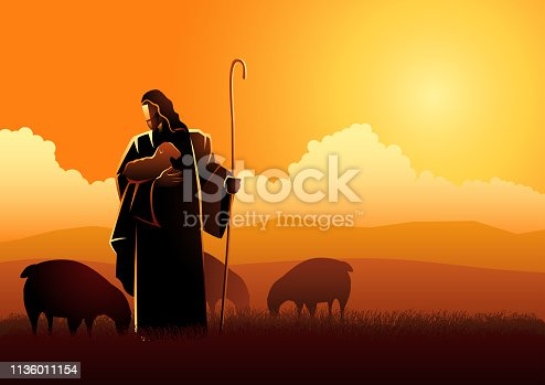 Biblical vector illustration of Jesus as a shepherd