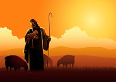 A lovely cartoon vector of JEsus holding a little sheep with love. Illustration.