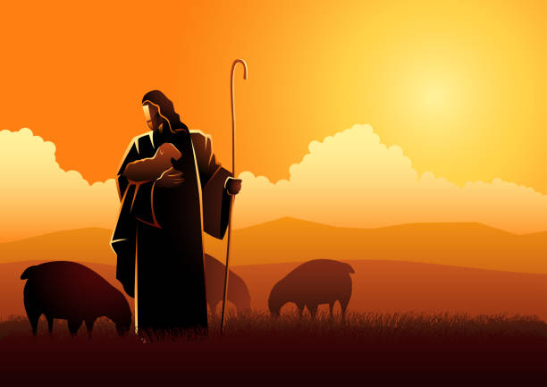 stockillustraties, clipart, cartoons en iconen met jezus als herder - schaap