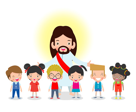 Jesus Christ and Kids, children with Jesus Christ, Christianity design isolated on white background vector illustration