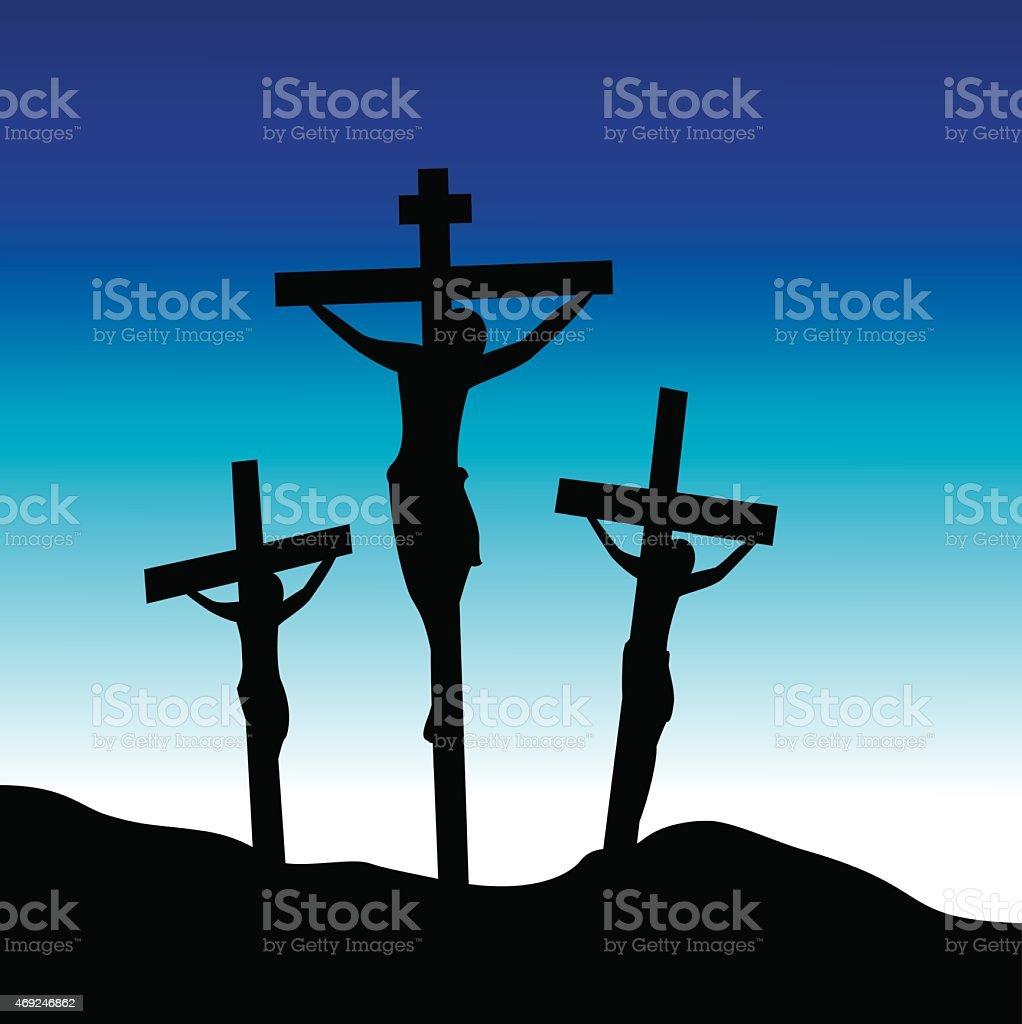 Jesus Christ at Calvary. vector art illustration