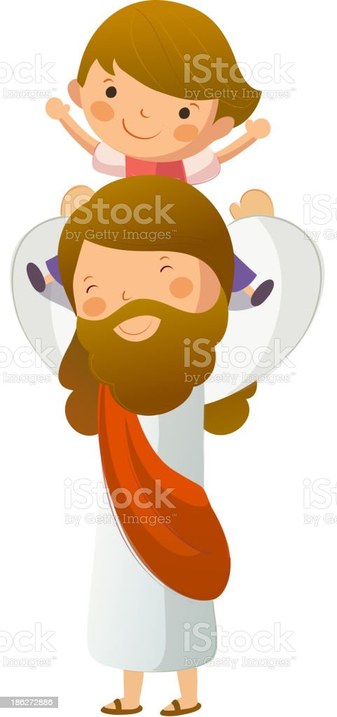 Jesus Christ carrying boy on shoulder royalty-free stock vector art