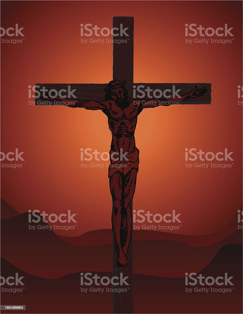 Jesus Christ Crucified vector art illustration