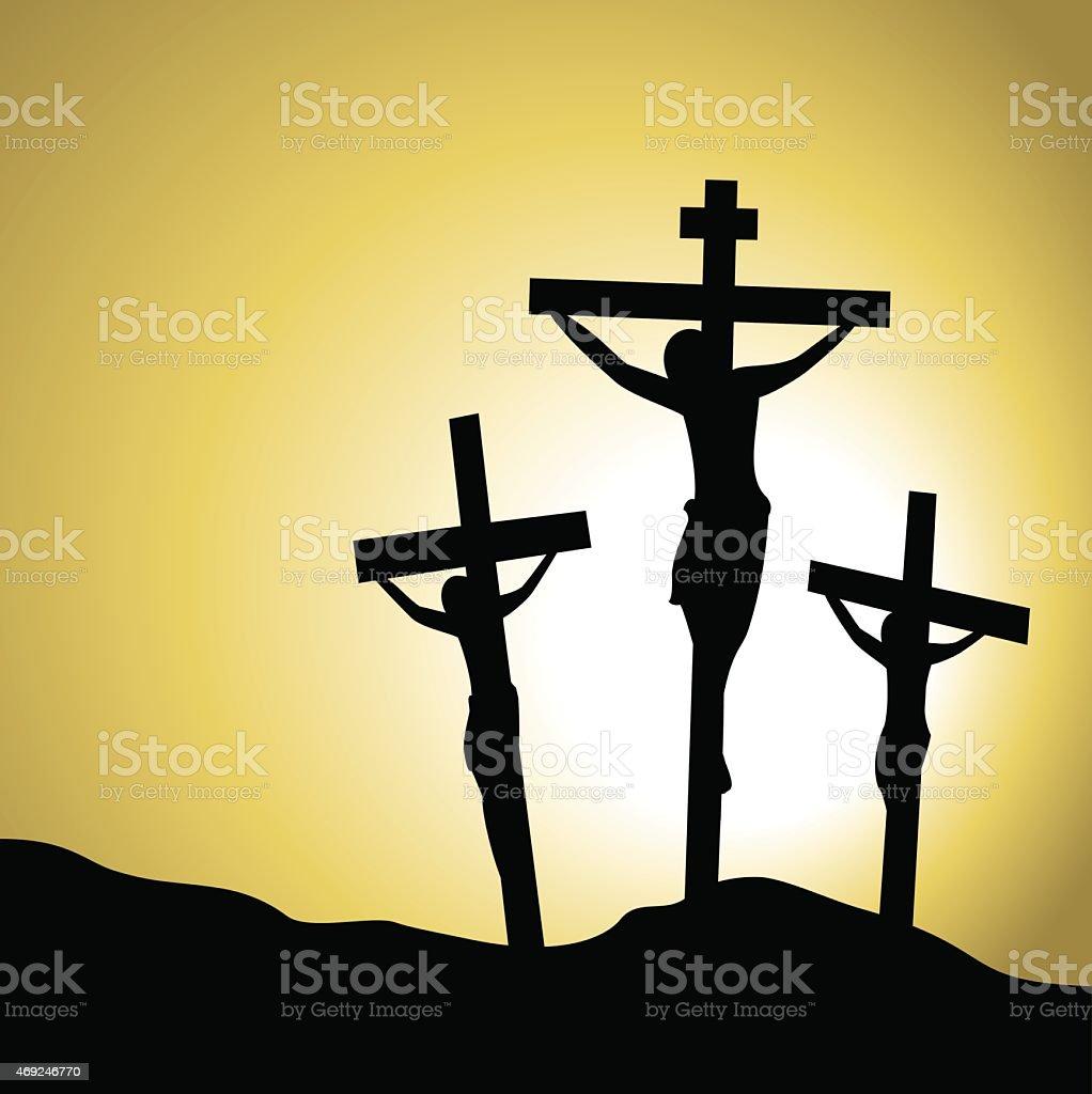 Jesus Christ cruified vector art illustration