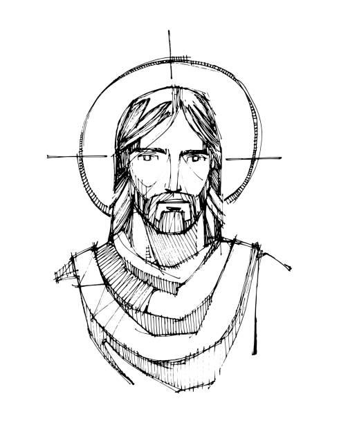 ilustrações de stock, clip art, desenhos animados e ícones de jesus christ face ink illustration - jesus cristo