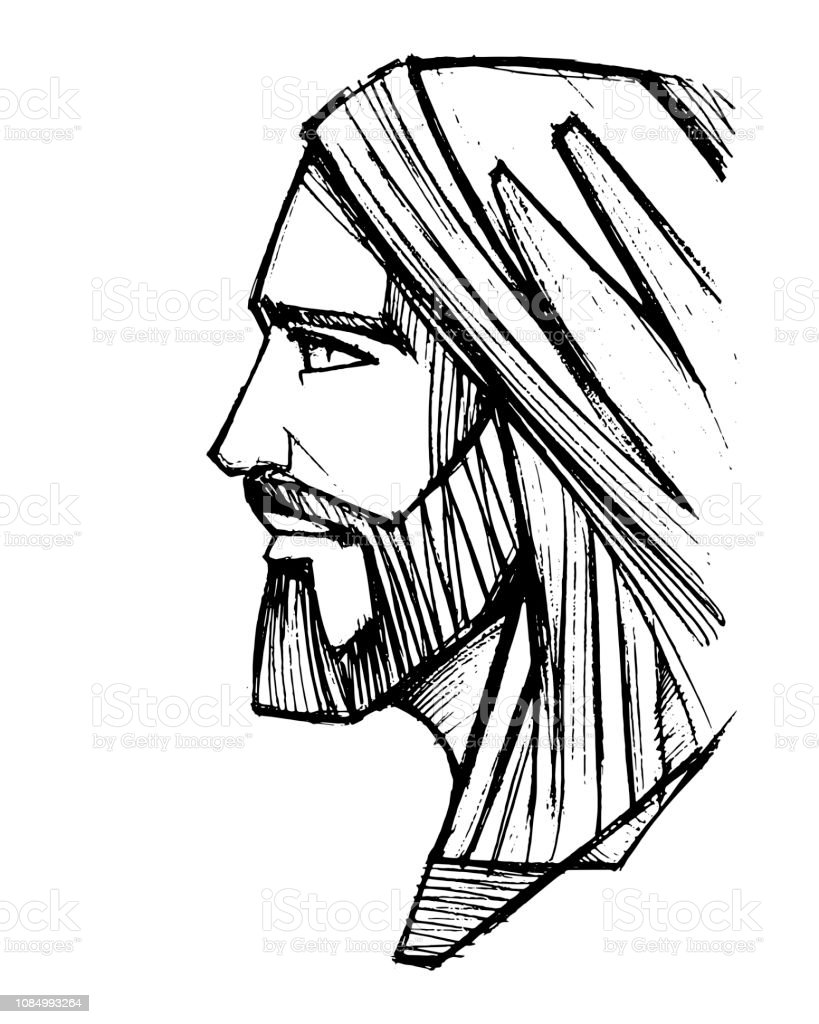 Jesus Christ Face pencil illustration - Royalty-free Adulto arte vetorial