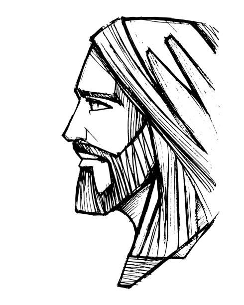 ilustrações de stock, clip art, desenhos animados e ícones de jesus christ face pencil illustration - jesus cristo