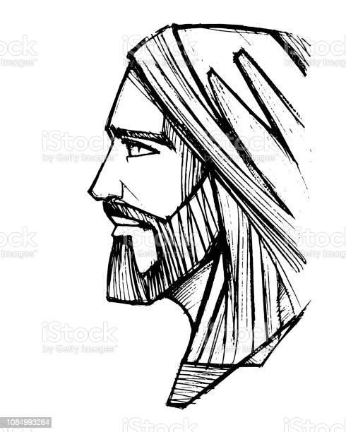 Jesus Christ Face Pencil Illustration - Arte vetorial de stock e mais imagens de Adulto