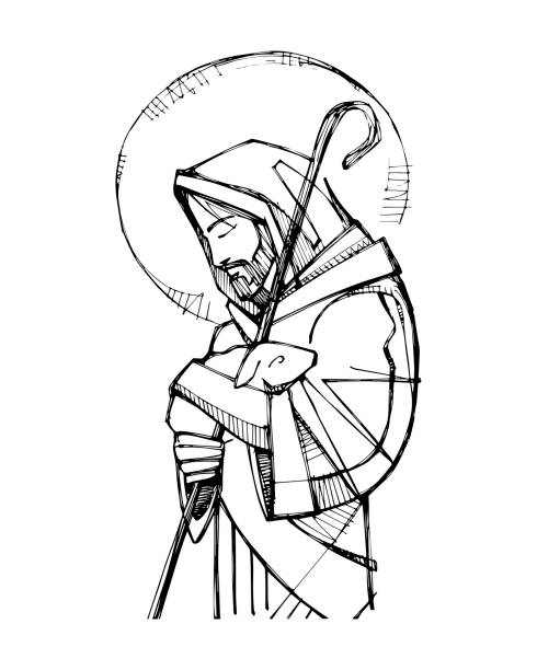 ilustrações de stock, clip art, desenhos animados e ícones de jesus christ good shepherd ink illustration - jesus cristo