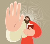 Vector illustration - Jesus Christ Holding Bible And Gesturing Stop Hand Sign.