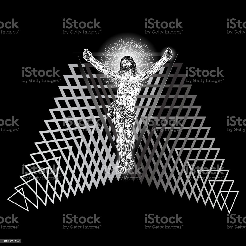 Jesus Christ Hover On Triangle Tattoo New Age Sacred Geometry Symbol Of Christianity Prayer And Religion Mystical Concept Of Spirituality And Sacred Religious Magic Secret Prophet In Space Vector Stock Illustration When you tattoo your body with jesus christ you are simply selecting. jesus christ hover on triangle tattoo new age sacred geometry symbol of christianity prayer and religion mystical concept of spirituality and sacred religious magic secret prophet in space vector stock illustration