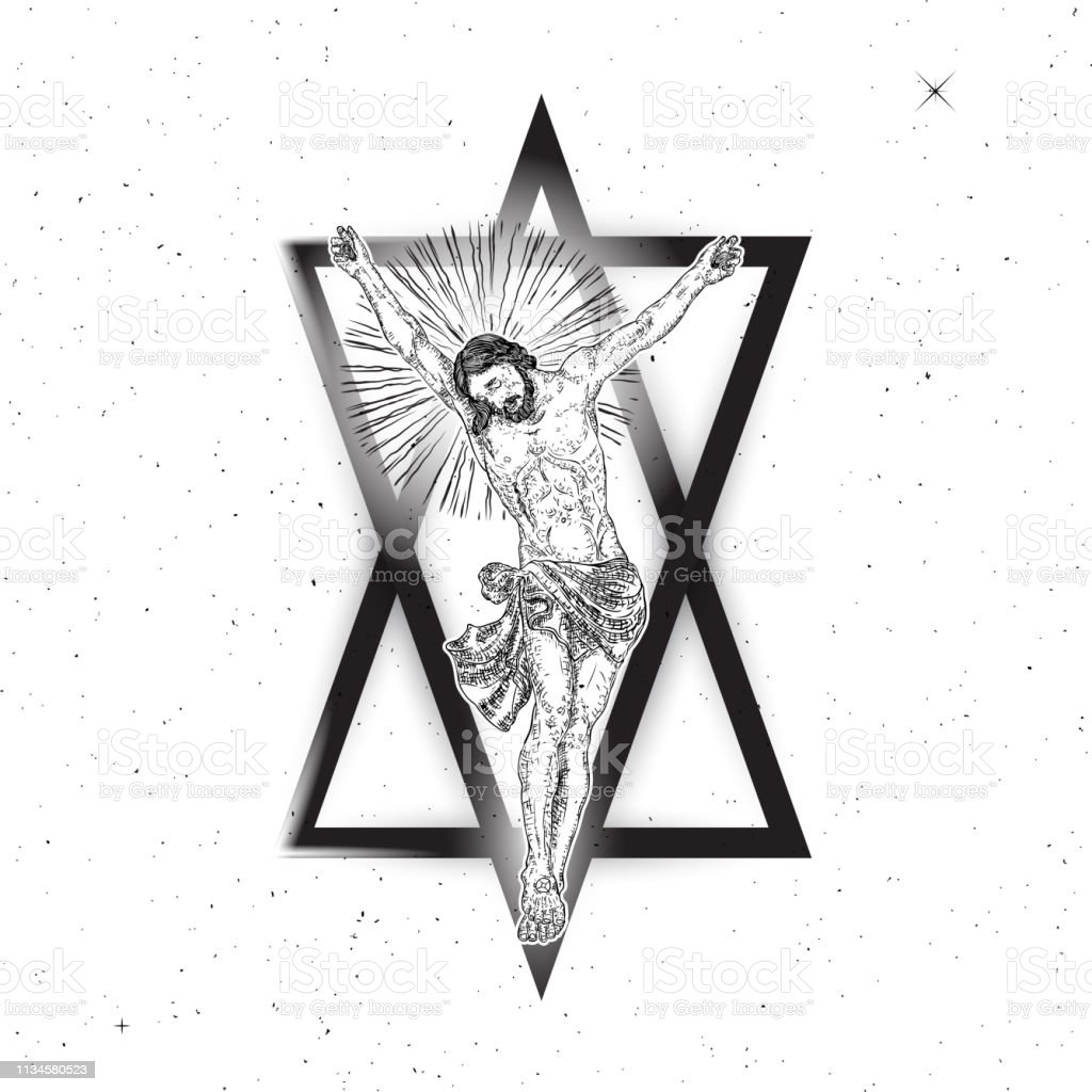 Jesus Christ Hover On Triangle Tattoo New Age Sacred Geometry Symbol