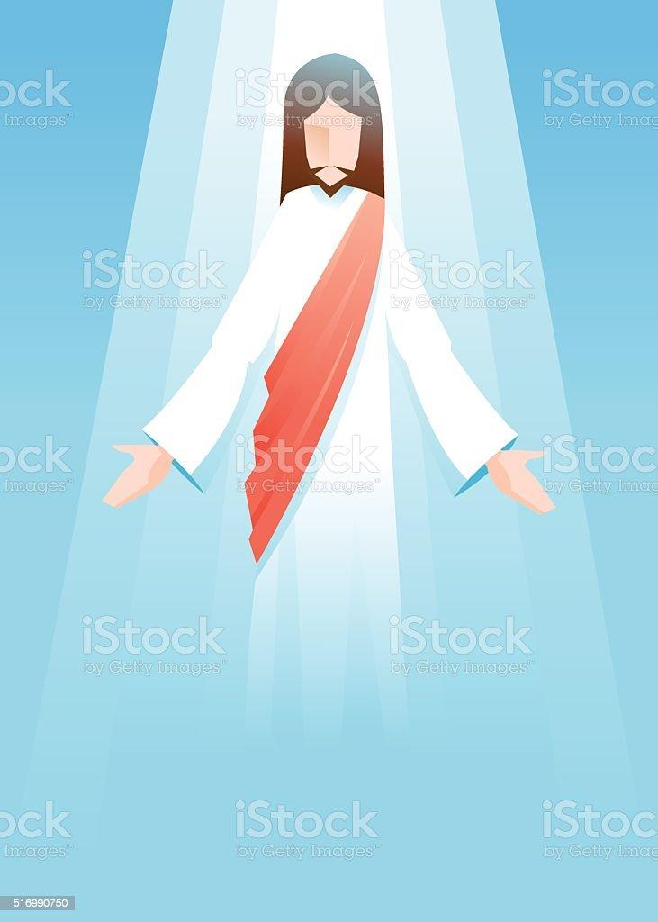 Vector illustration of Jesus Christ is risen in blue background