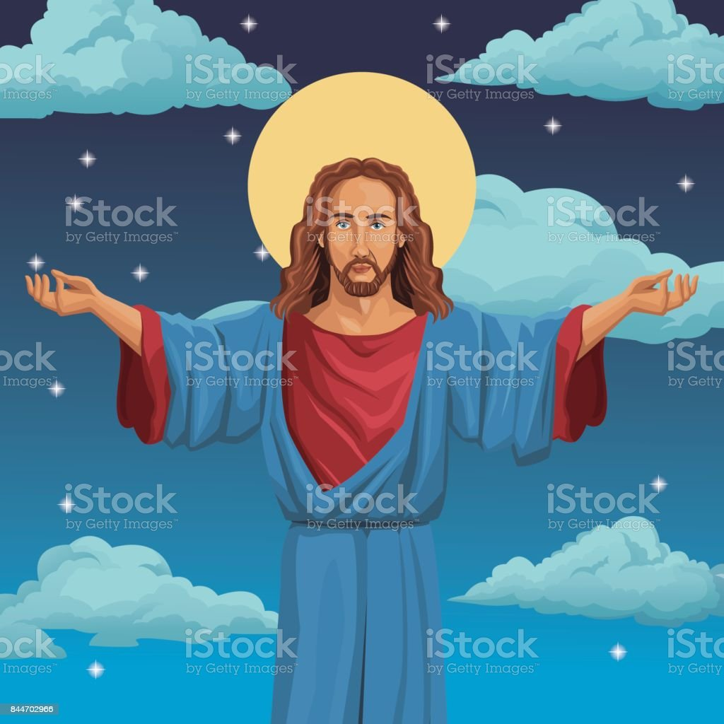 jesus christ religious blessed night background vector art illustration