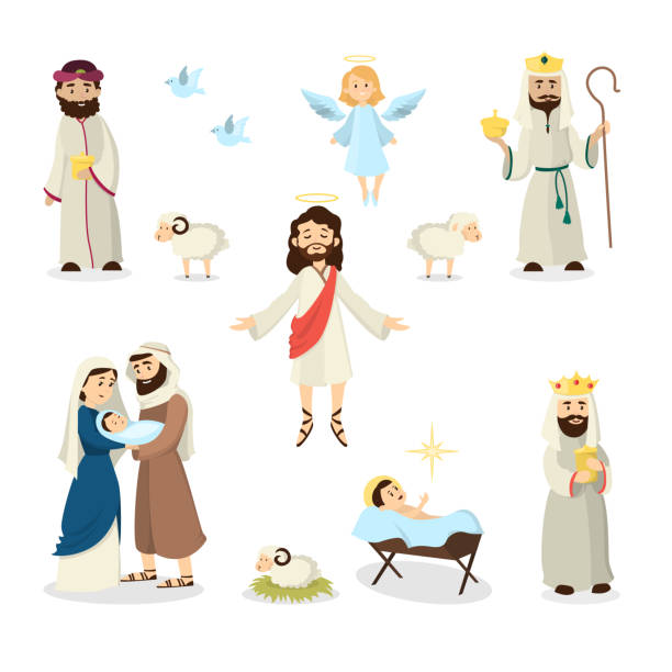 jesus christus geschichte abbildung. - jungfrau stock-grafiken, -clipart, -cartoons und -symbole