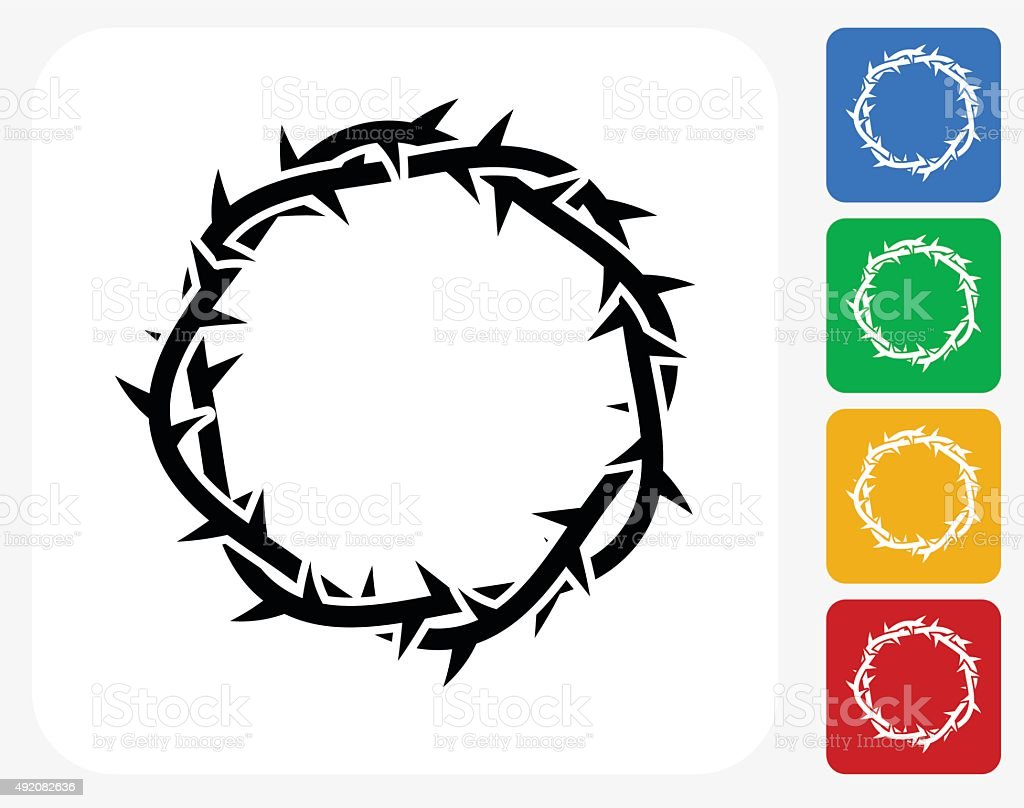Jesus Christ Thorn Crown Icon Flat Graphic Design vector art illustration