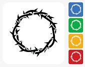 Jesus Christ Thorn Crown Icon Flat Graphic Design