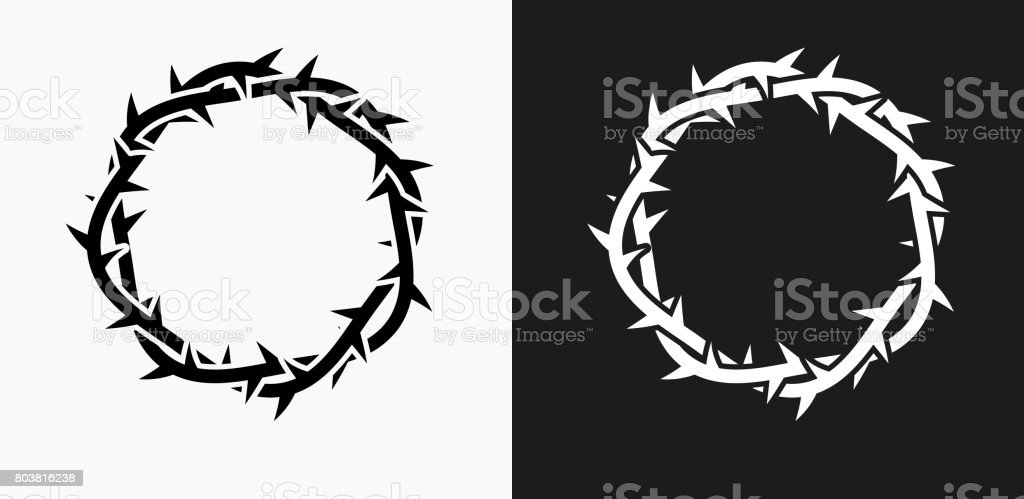 Jesus Christ Thorn Crown Icon on Black and White Vector Backgrounds vector art illustration