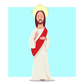 Jesus Christ vector cartoon flat character. Illustration isolated on background.