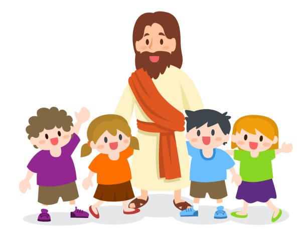 illustrations, cliparts, dessins animés et icônes de jésus christ avec le groupe d'enfants - famille avec enfants