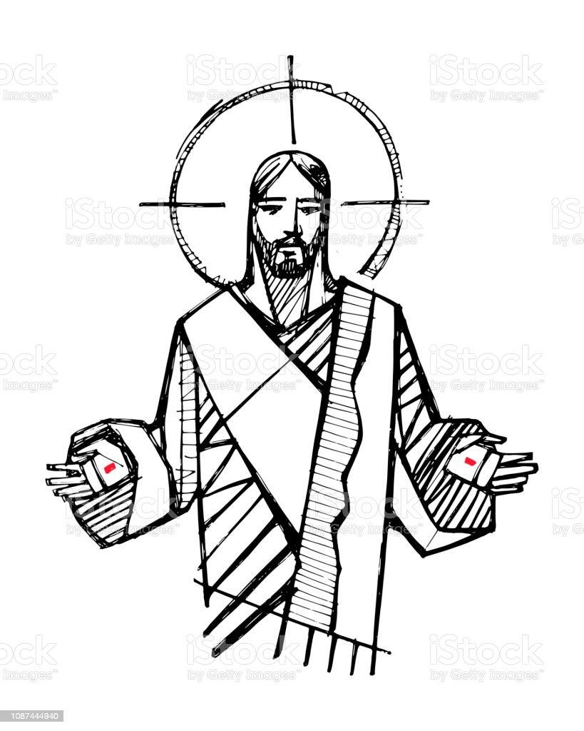 Jesus Christ with open hands illustration - Royalty-free Adulto arte vetorial