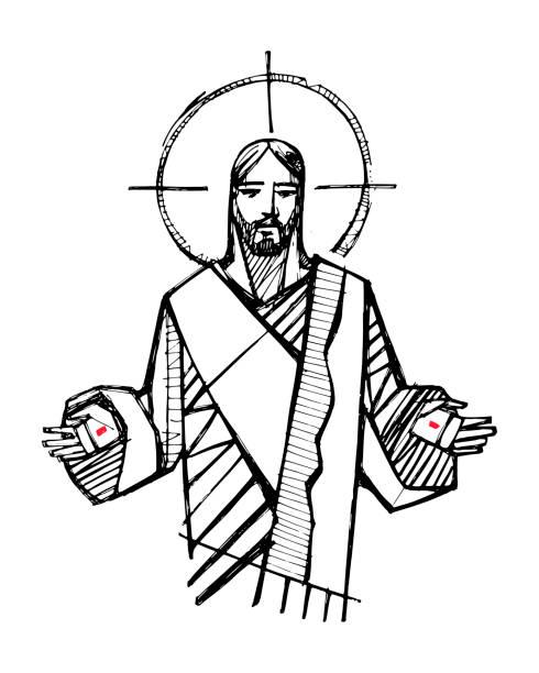 ilustrações de stock, clip art, desenhos animados e ícones de jesus christ with open hands illustration - jesus cristo