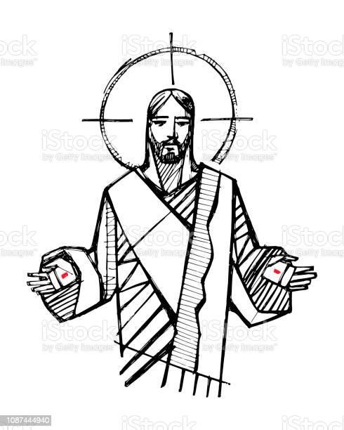 Jesus Christ With Open Hands Illustration - Arte vetorial de stock e mais imagens de Adulto